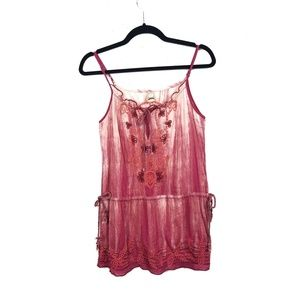 Free People Embroidered Tunic Keyhole Blouse FLAW